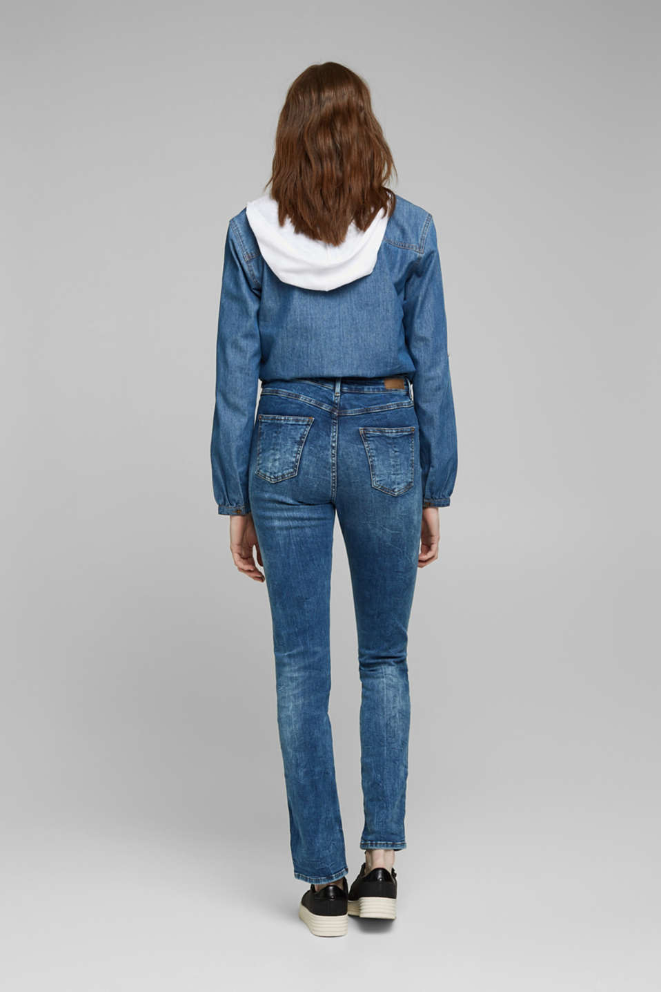 Stretch jeans with a button fly, BLUE DARK WASH, detail image number 3