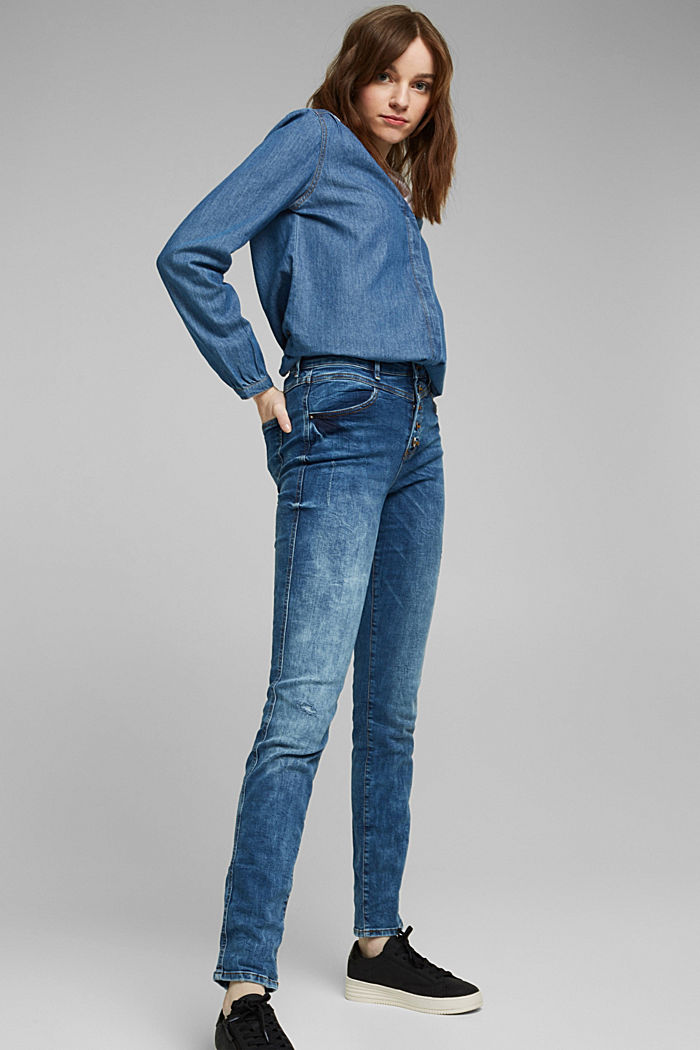 Stretch jeans with a button fly, BLUE DARK WASHED, detail image number 1