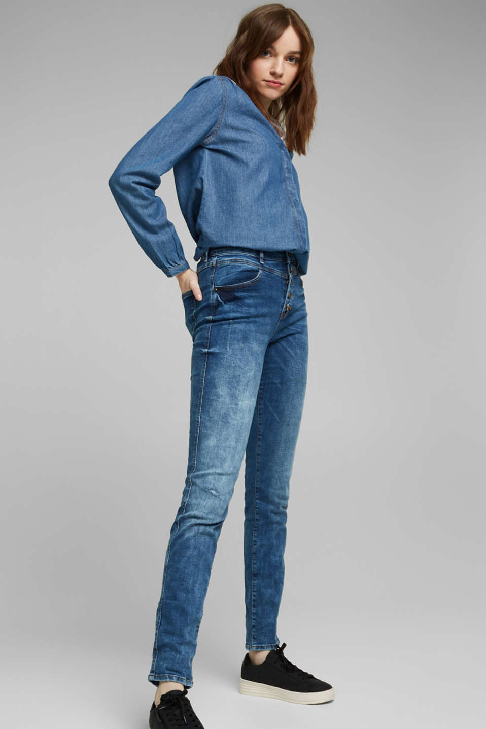 Stretch jeans with a button fly, BLUE DARK WASH, detail image number 1