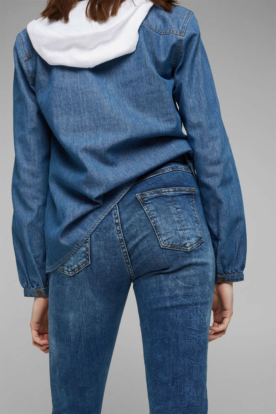 Stretch jeans with a button fly, BLUE DARK WASH, detail image number 5
