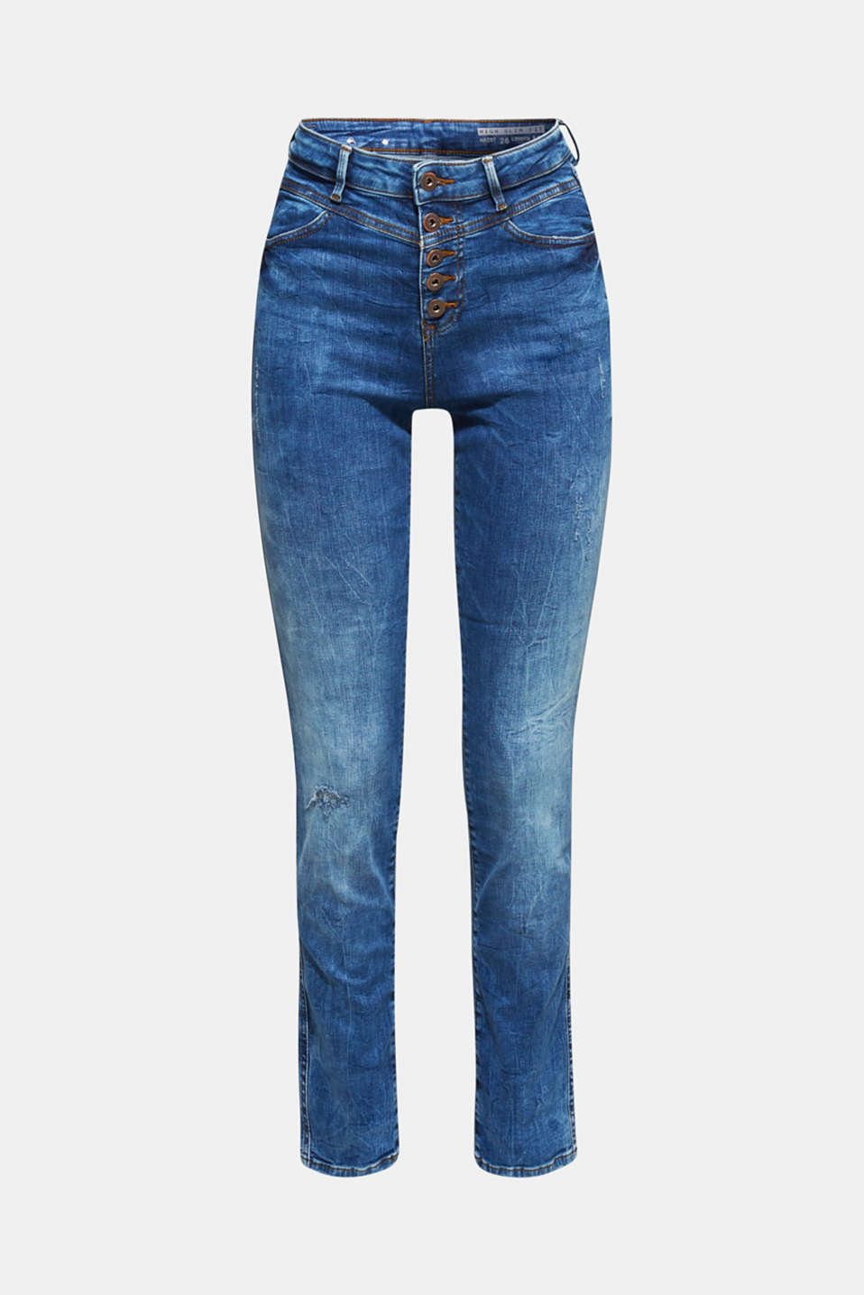 Stretch jeans with a button fly, BLUE DARK WASH, detail image number 7