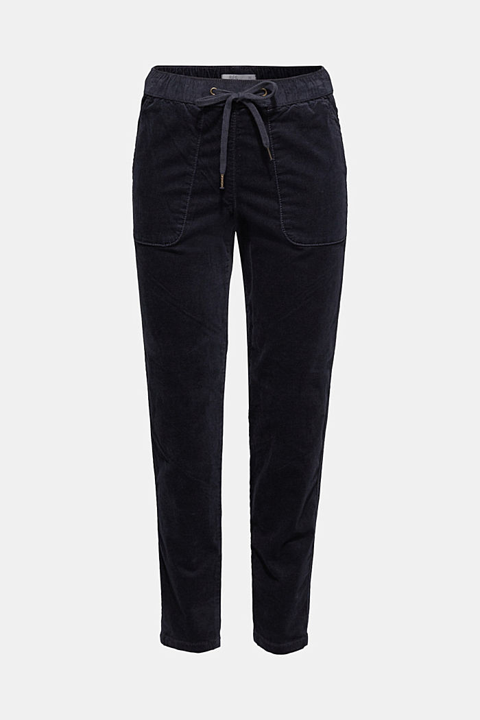 Stretch corduroy tracksuit bottoms, NAVY, detail image number 7