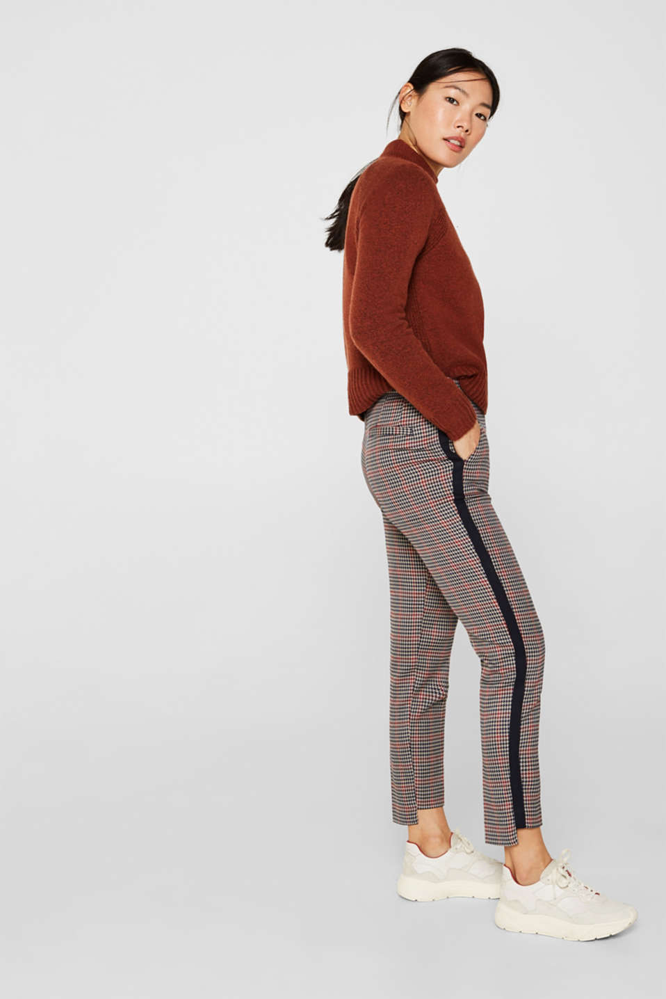 Stretch trousers with high-low hems, TAUPE, detail image number 1