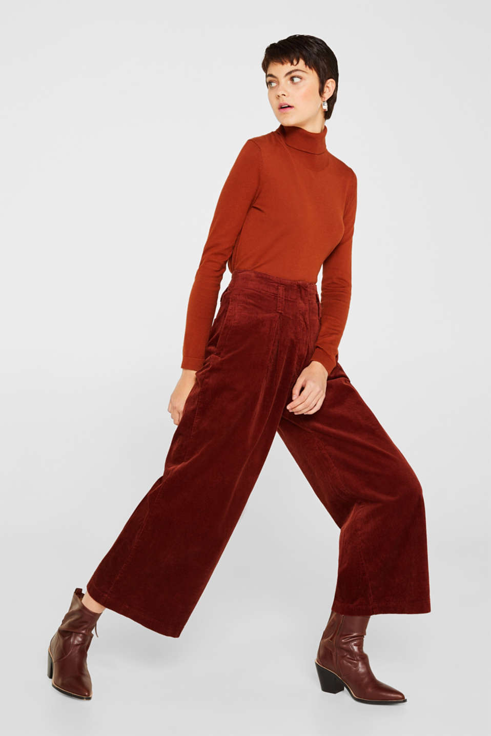 Corduroy culottes made of stretch cotton, TERRACOTTA, detail image number 0