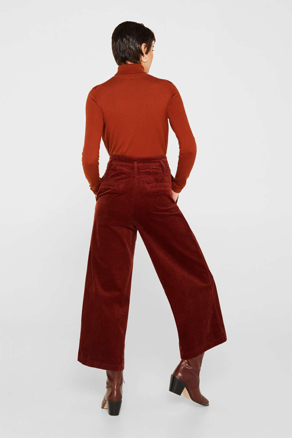 Corduroy culottes made of stretch cotton, TERRACOTTA, detail image number 3
