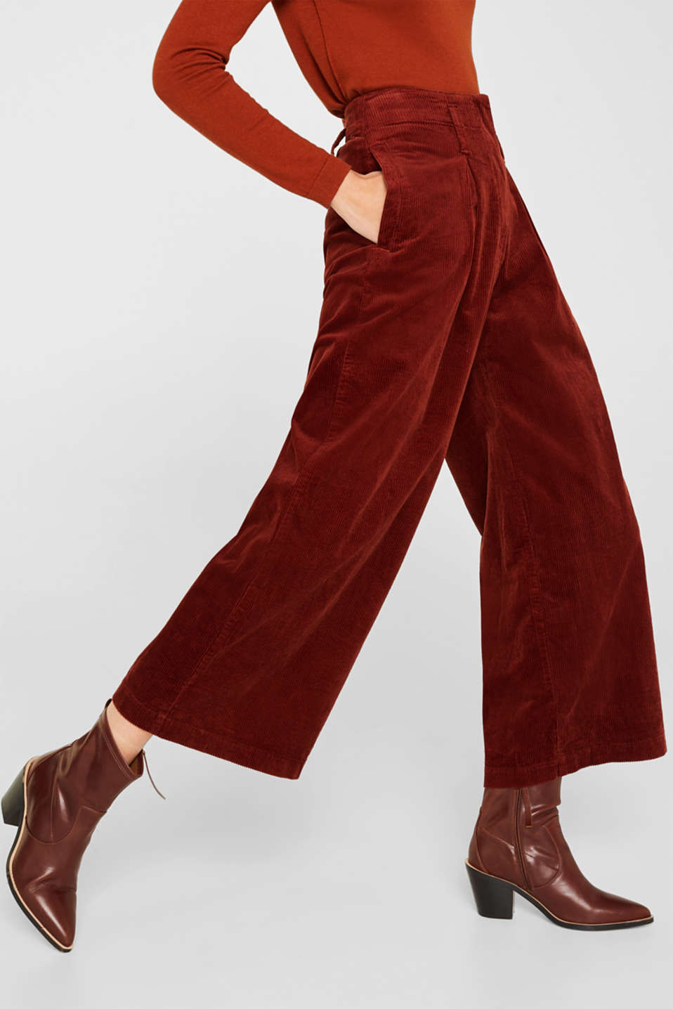 Corduroy culottes made of stretch cotton, TERRACOTTA, detail image number 5