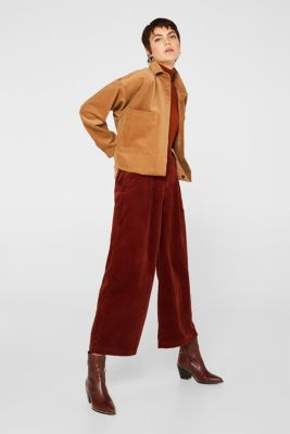 Corduroy culottes made of stretch cotton, TERRACOTTA, detail