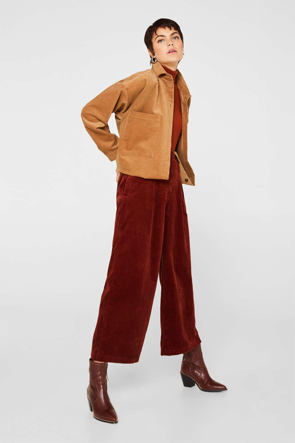 Corduroy culottes made of stretch cotton, TERRACOTTA, detail image number 1