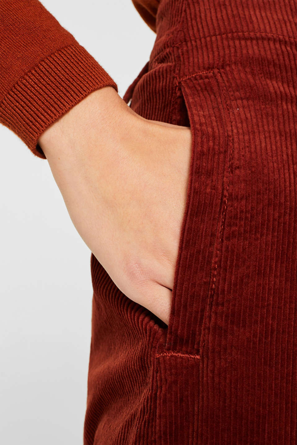 Corduroy culottes made of stretch cotton, TERRACOTTA, detail image number 2