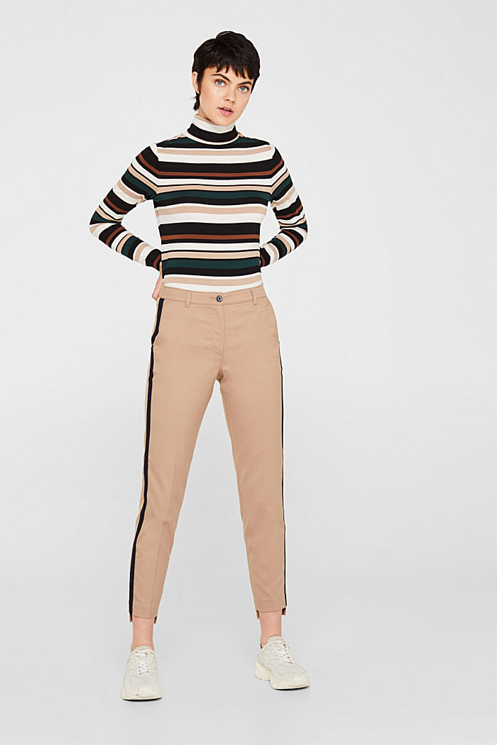 Stretch trousers with woven tape stripes, CAMEL, detail image number 0