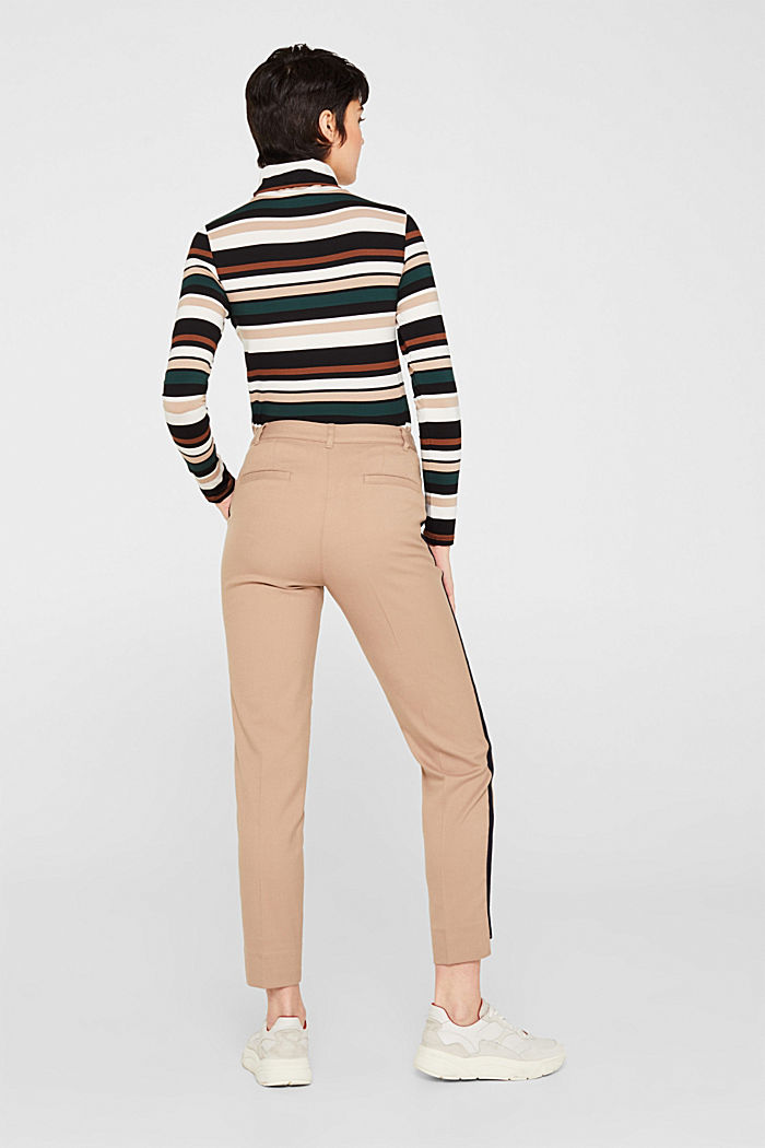 Stretch trousers with woven tape stripes, CAMEL, detail image number 3