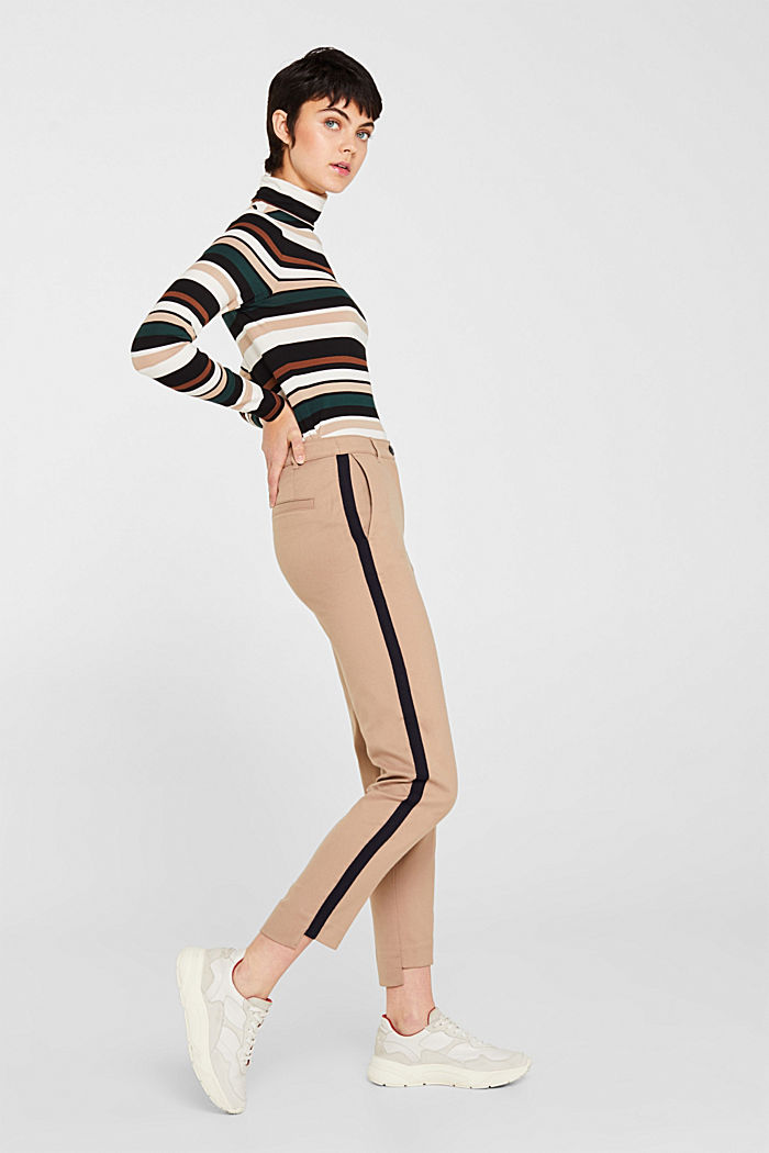 Stretch trousers with woven tape stripes, CAMEL, detail image number 1