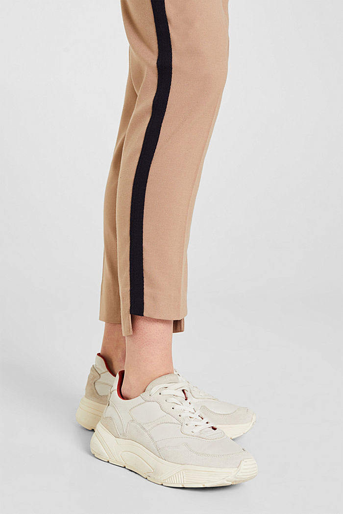 Stretch trousers with woven tape stripes, CAMEL, detail image number 2