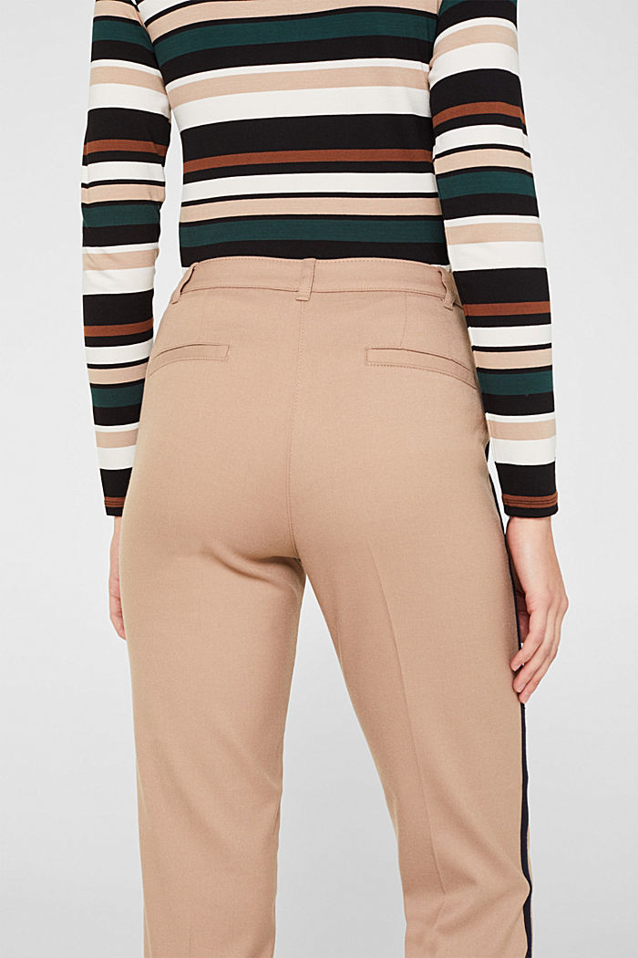Stretch trousers with woven tape stripes, CAMEL, detail image number 5
