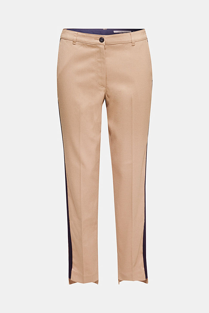 Stretch trousers with woven tape stripes, CAMEL, detail image number 6