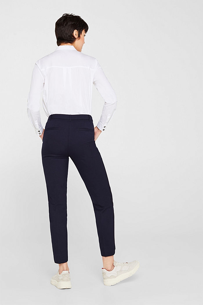Stretch trousers with woven tape stripes, NAVY, detail image number 3