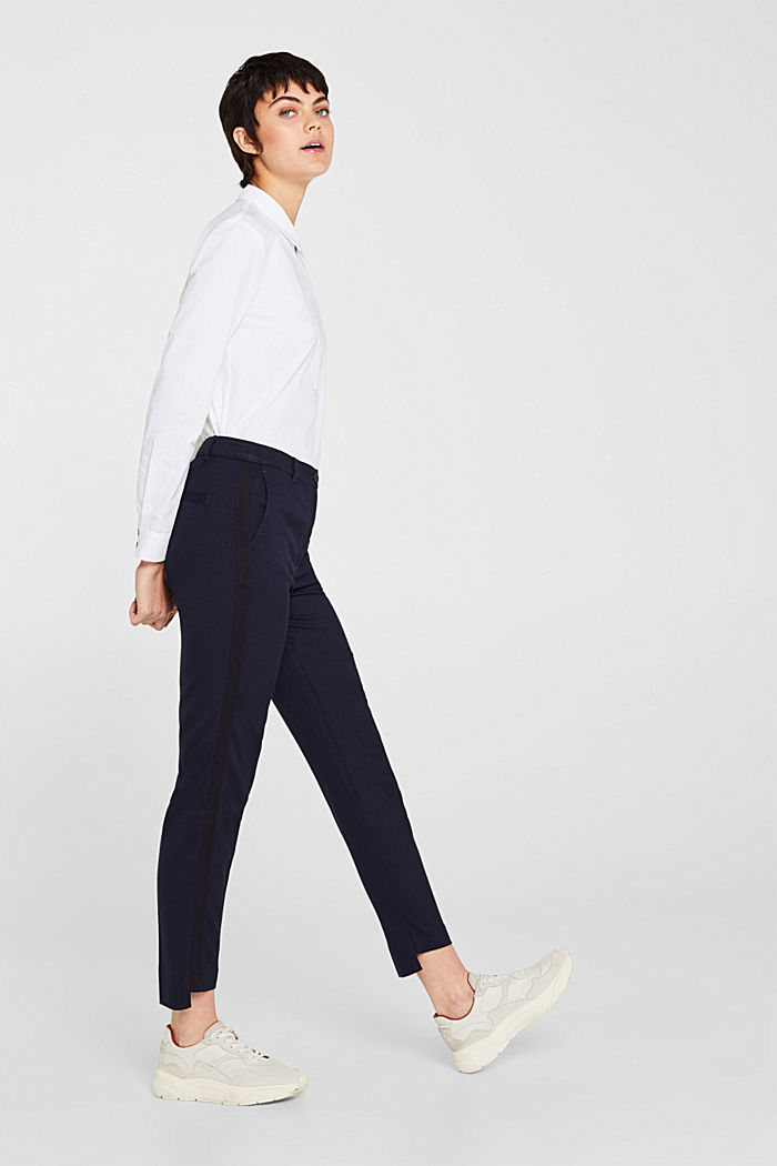 Stretch trousers with woven tape stripes, NAVY, detail image number 1