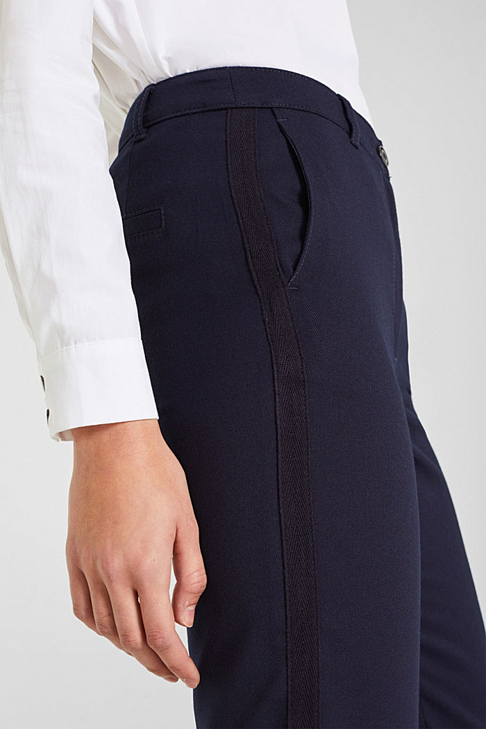 Stretch trousers with woven tape stripes, NAVY, detail image number 2