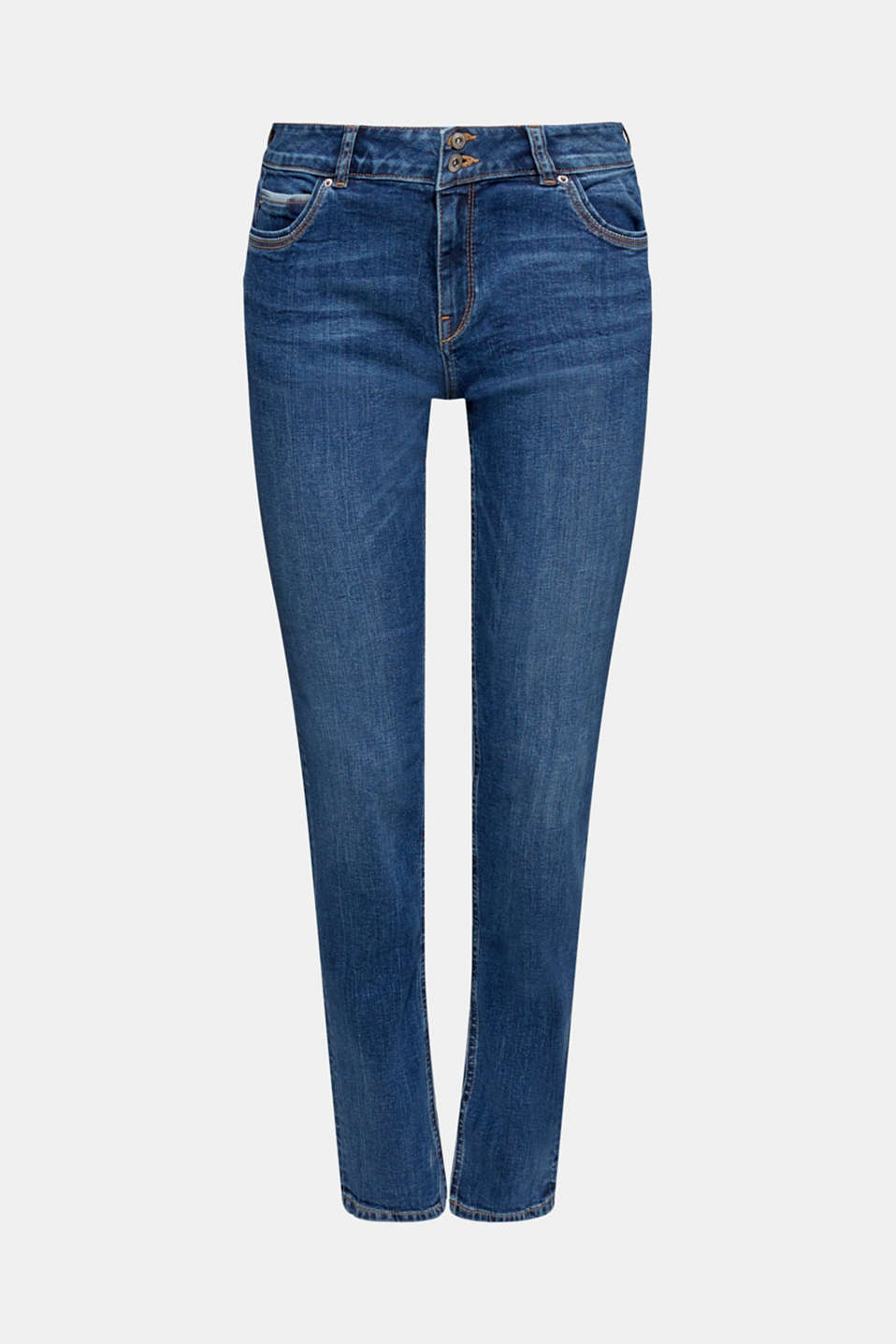 Stretch jeans with double button, BLUE MEDIUM WASH, detail image number 2