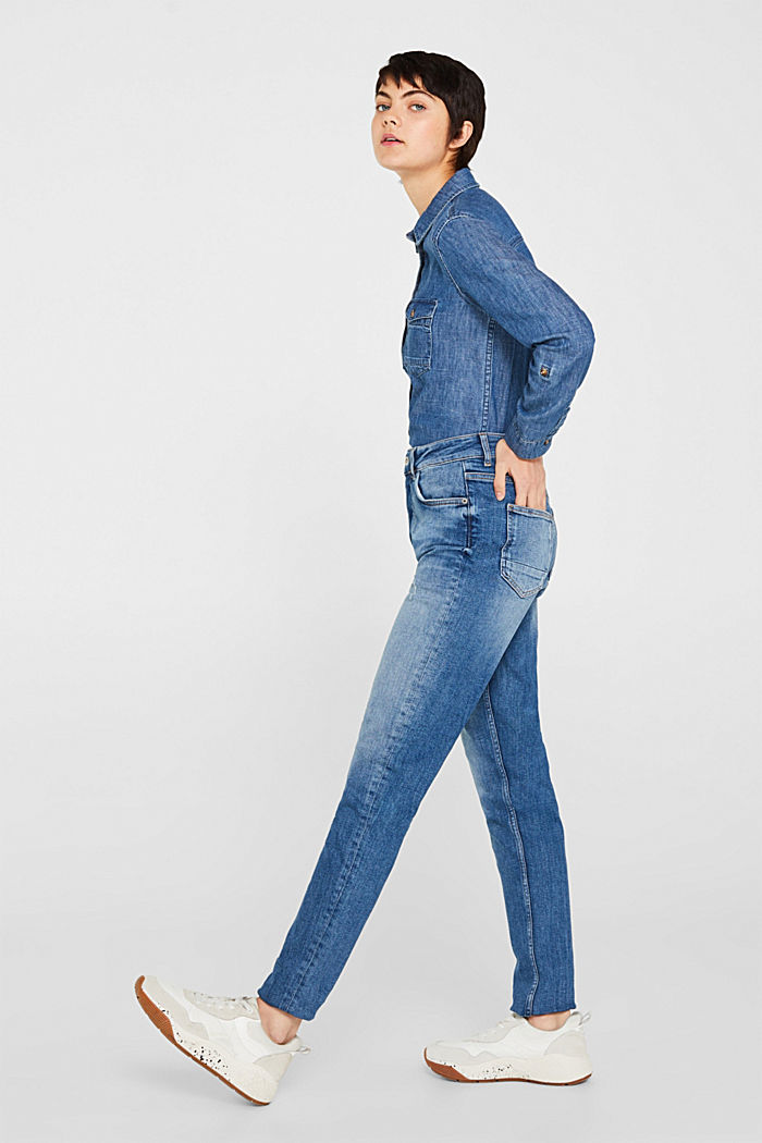 Stretch jeans with a button fly, BLUE MEDIUM WASHED, detail image number 0