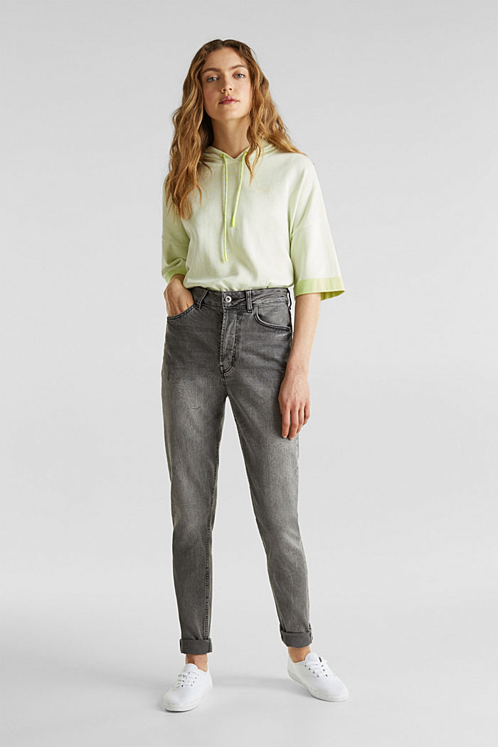 Stretch jeans with a high waistband, BLACK LIGHT WASHED, detail image number 0