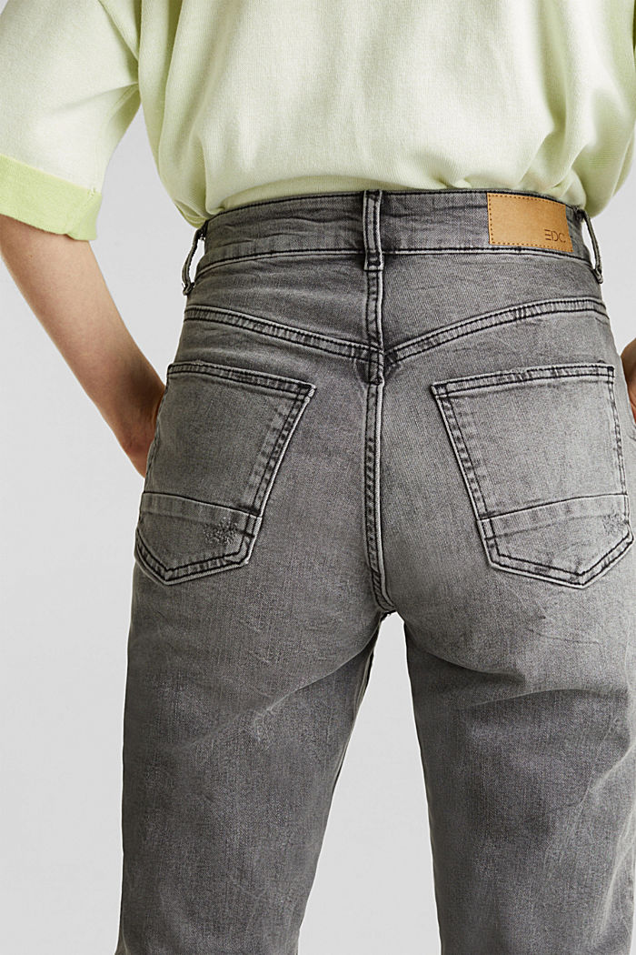 Stretch jeans with a high waistband, BLACK LIGHT WASHED, detail image number 5