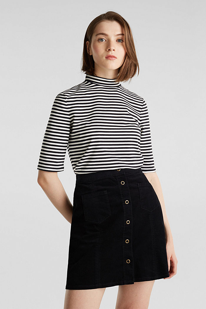 Corduroy skirt made of stretch cotton, BLACK, detail image number 0
