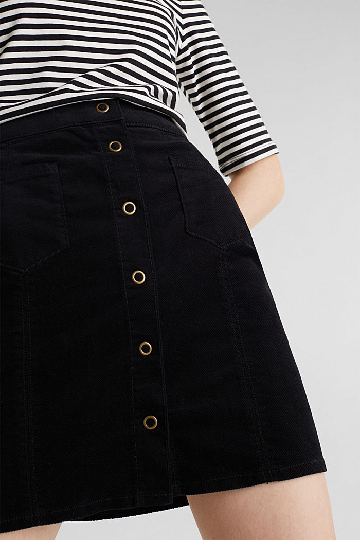 Corduroy skirt made of stretch cotton, BLACK, detail image number 2