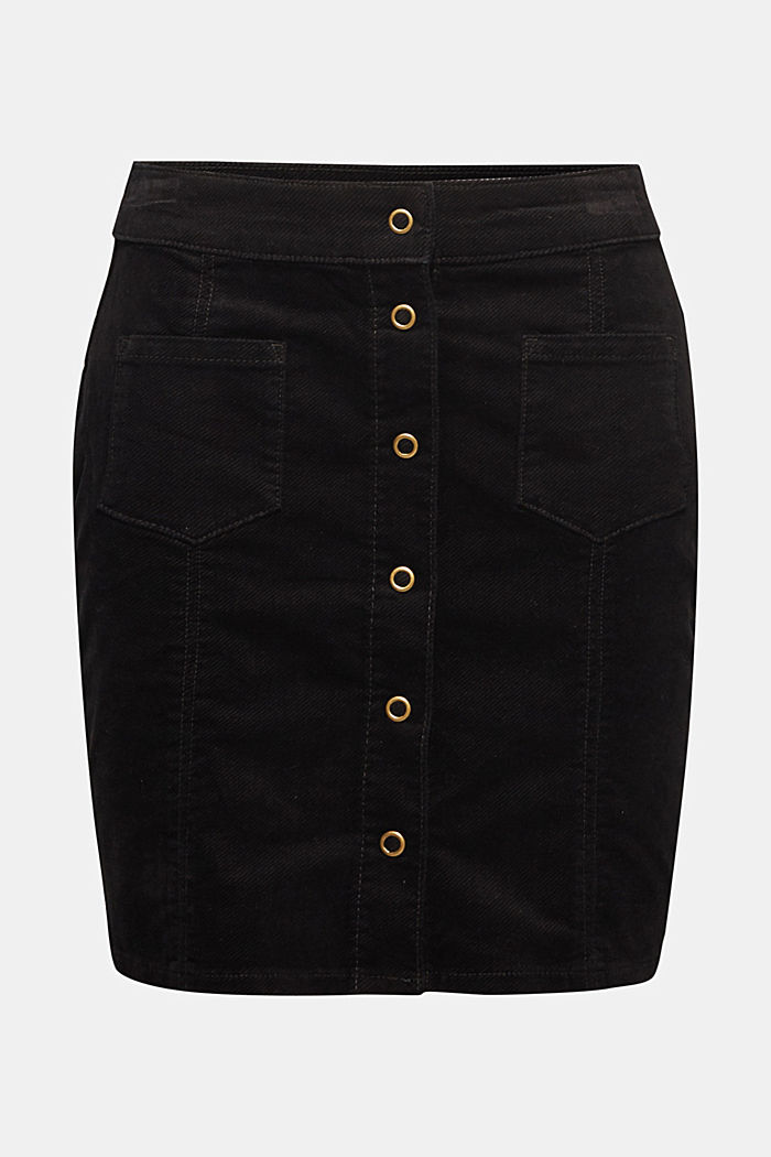 Corduroy skirt made of stretch cotton, BLACK, detail image number 6