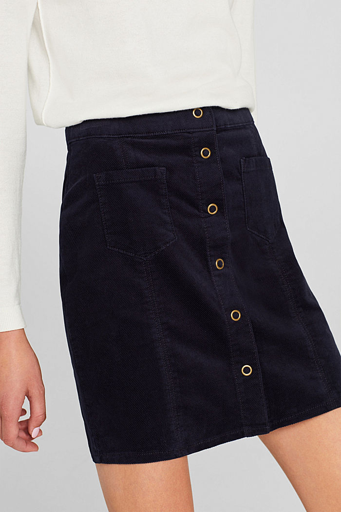 Corduroy skirt made of stretch cotton, NAVY, detail image number 2