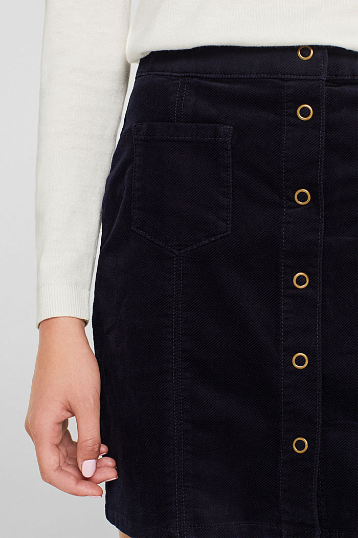 Corduroy skirt made of stretch cotton, NAVY, detail image number 5