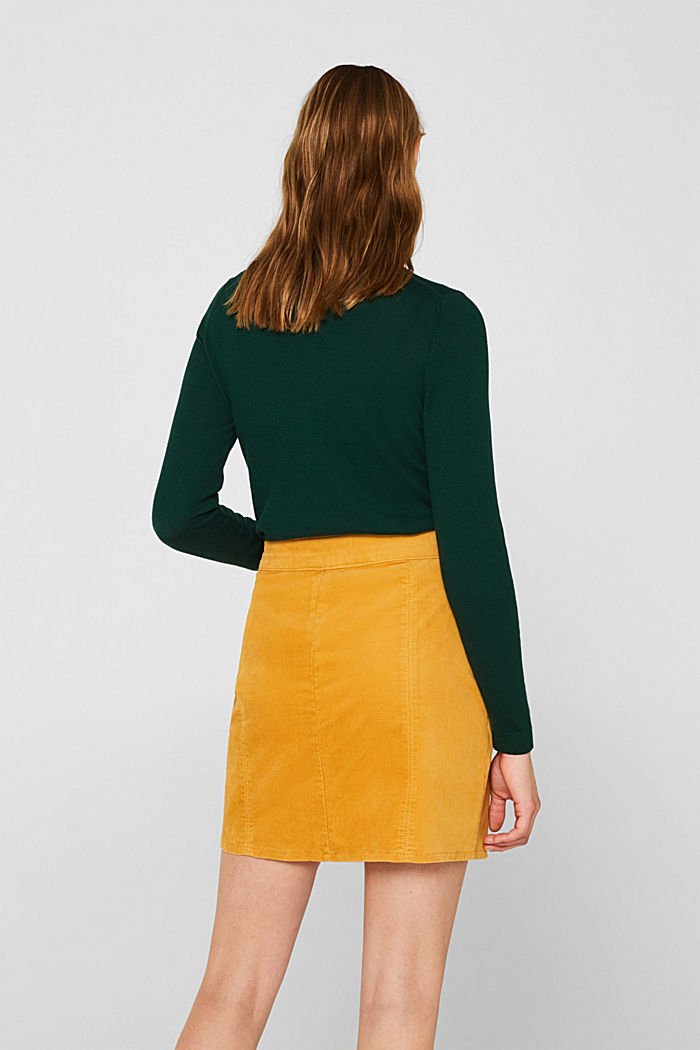 Corduroy skirt made of stretch cotton, HONEY YELLOW, detail image number 3