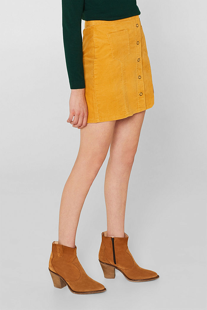 Corduroy skirt made of stretch cotton, HONEY YELLOW, detail image number 5