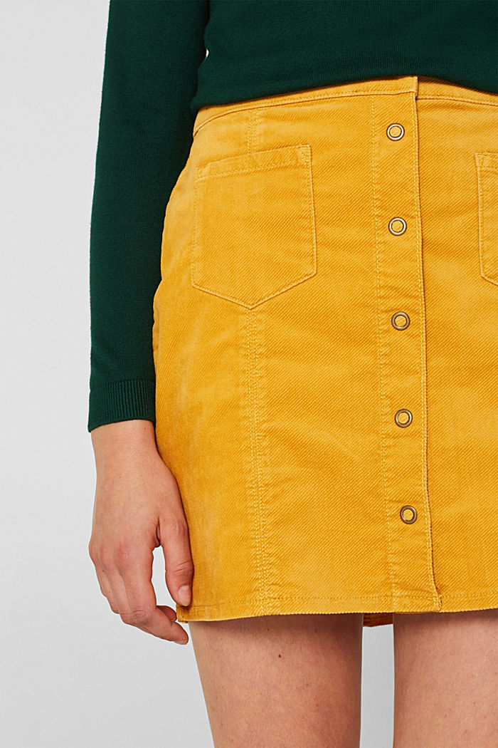 Corduroy skirt made of stretch cotton, HONEY YELLOW, detail image number 2