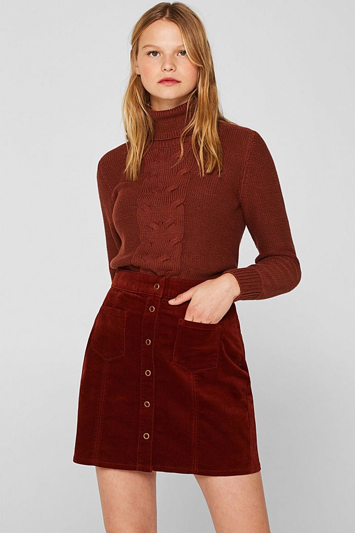 Corduroy skirt made of stretch cotton