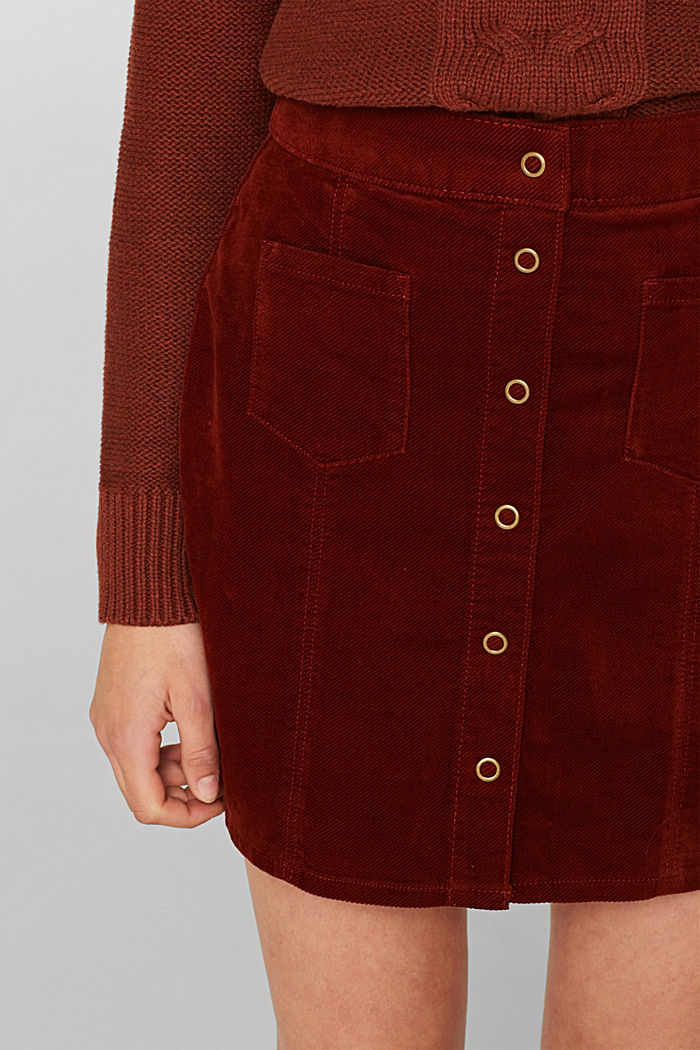 Corduroy skirt made of stretch cotton, TERRACOTTA, detail image number 2