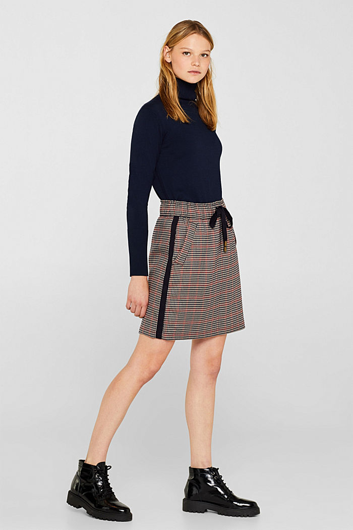 Houndstooth skirt with tuxedo stripes, TAUPE, detail image number 0