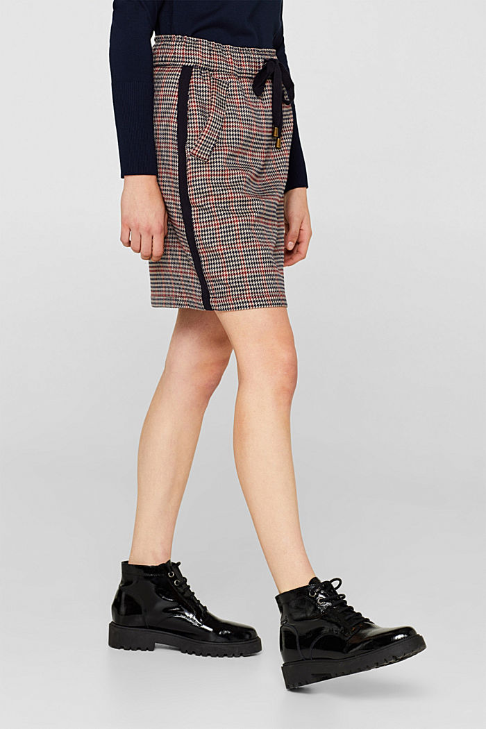 Houndstooth skirt with tuxedo stripes, TAUPE, detail image number 5