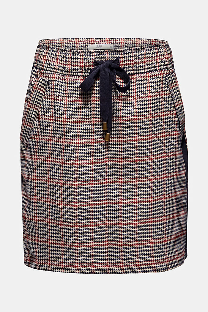 Houndstooth skirt with tuxedo stripes, TAUPE, detail image number 6