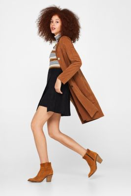 Wrap-over skirt in faux leather with stretch, BLACK, detail