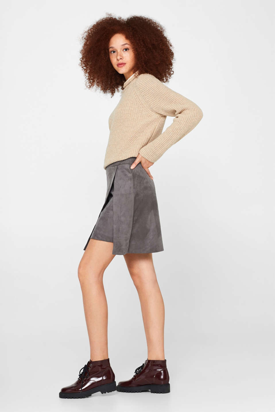 edc - Wrap-over skirt in faux leather with stretch
