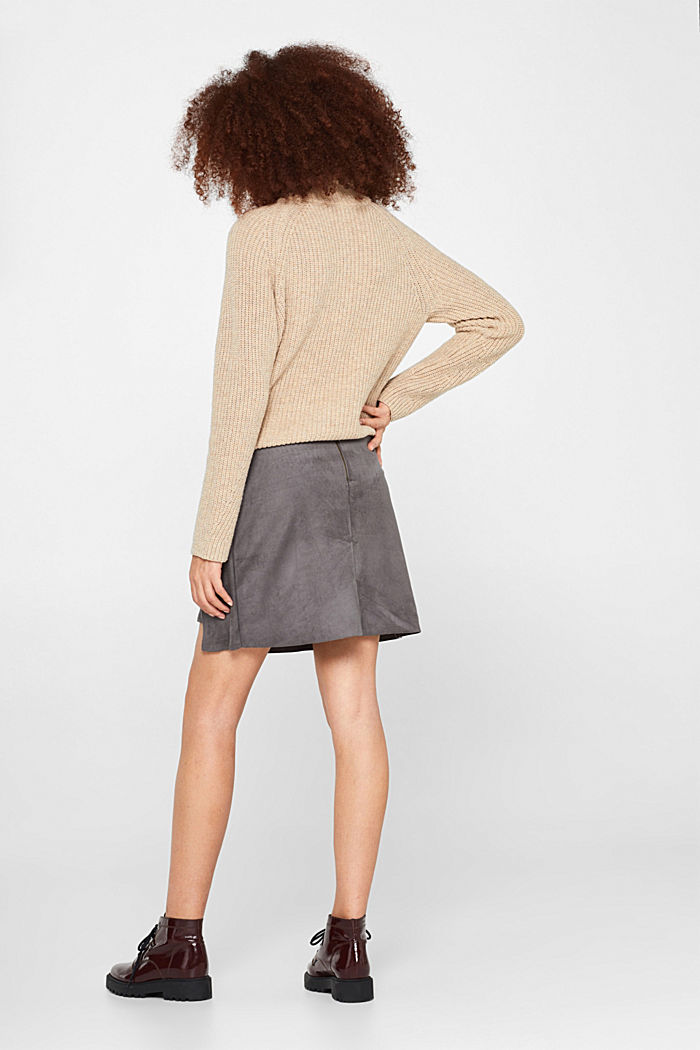 Wrap-over skirt in faux leather with stretch, MEDIUM GREY, detail image number 3