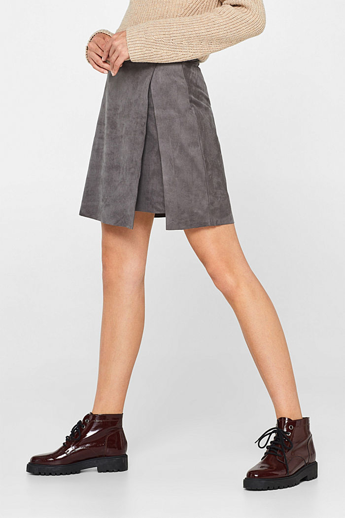 Wrap-over skirt in faux leather with stretch, MEDIUM GREY, detail image number 6