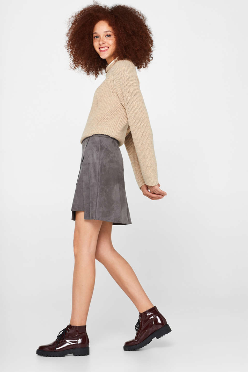 Wrap-over skirt in faux leather with stretch, MEDIUM GREY, detail image number 1