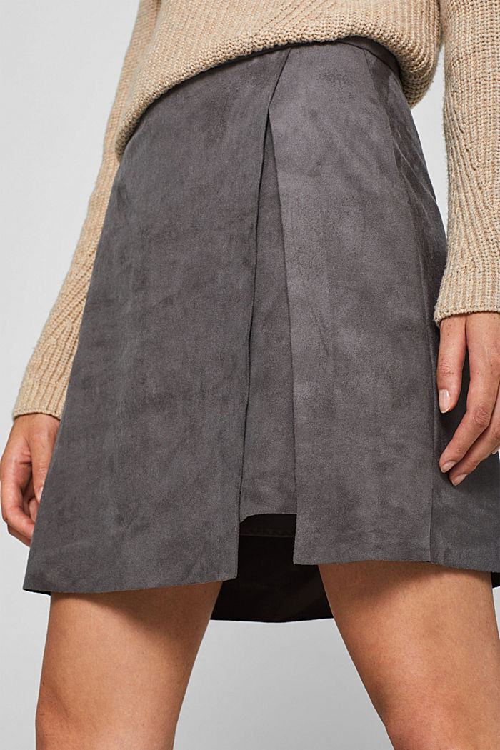 Wrap-over skirt in faux leather with stretch, MEDIUM GREY, detail image number 2