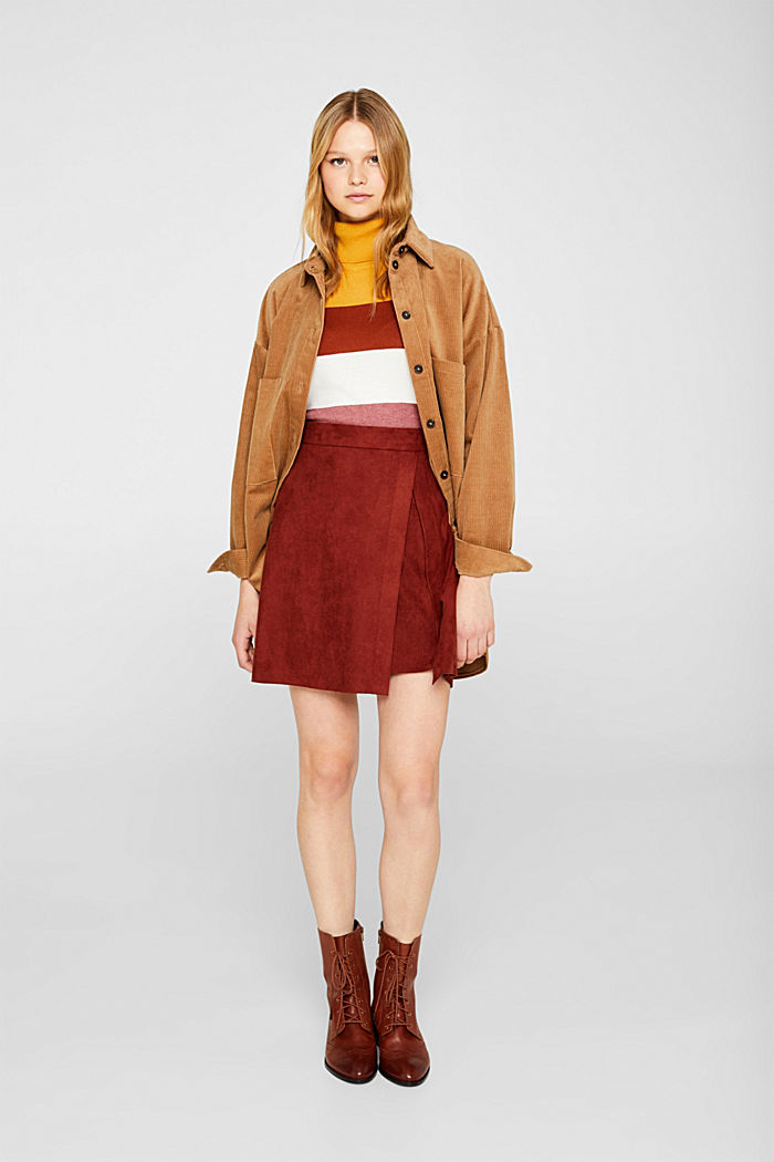 Wrap-over skirt in faux leather with stretch, TERRACOTTA, detail image number 1