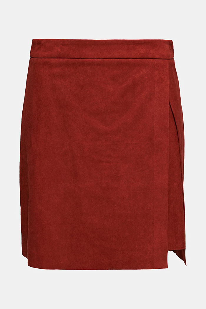 Wrap-over skirt in faux leather with stretch