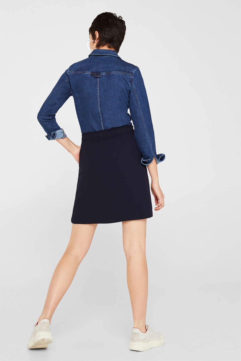 Crêpe skirt with a drawstring waistband, NAVY, detail image number 3
