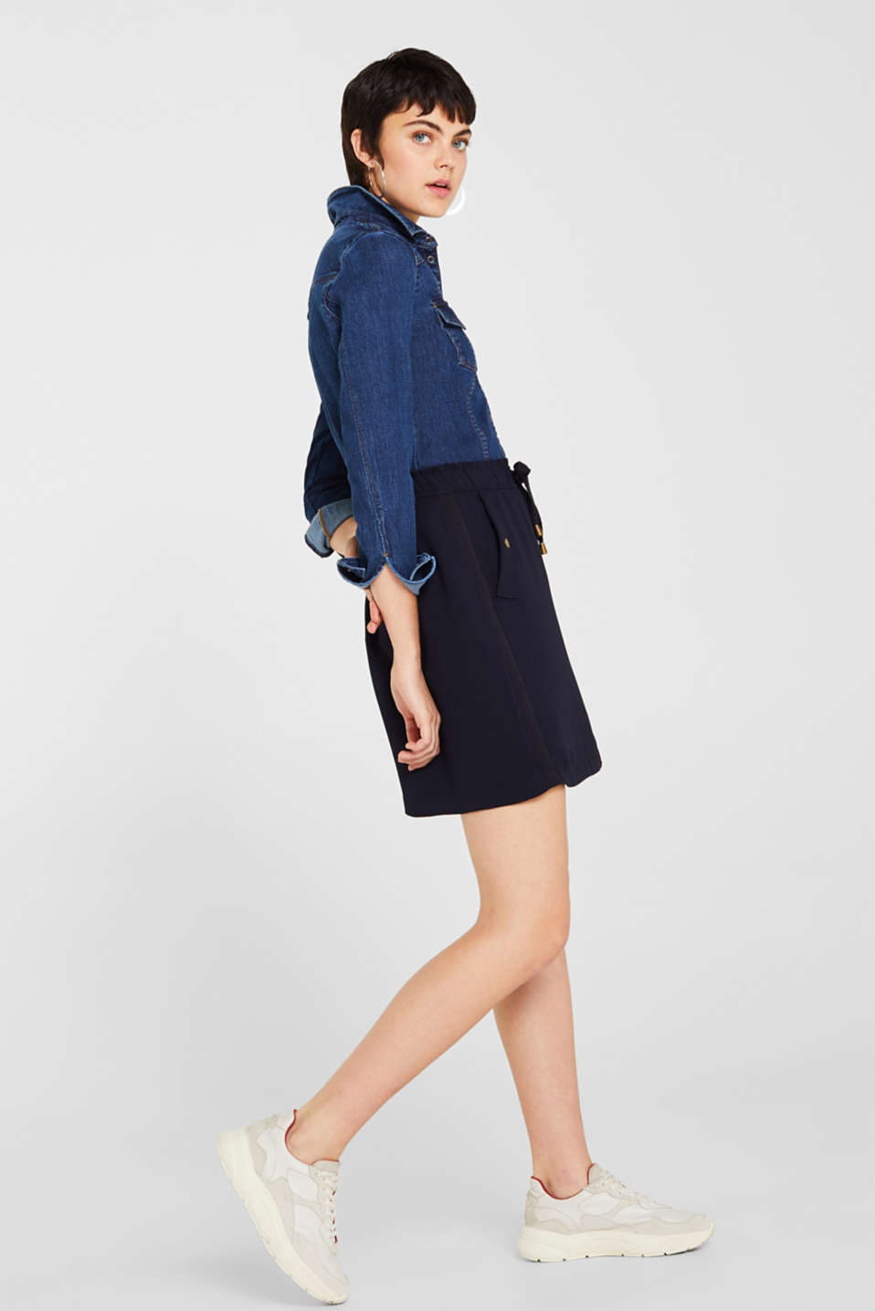 Crêpe skirt with a drawstring waistband, NAVY, detail image number 5