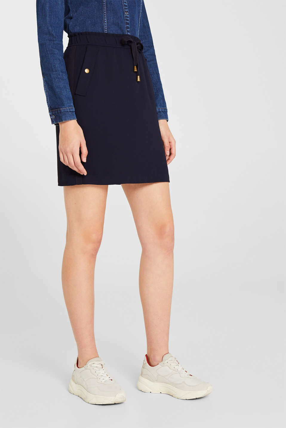 Crêpe skirt with a drawstring waistband, NAVY, detail image number 6